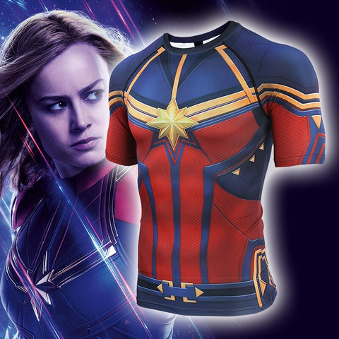 Men's Captain Marvel Compression 'End Game' Short Sleeve Rashguard