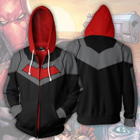 Red Hood Zip Up Hoodie-RashGuardStore