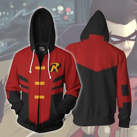 Robin 'Red Robin' Zip Up Hoodie-RashGuardStore