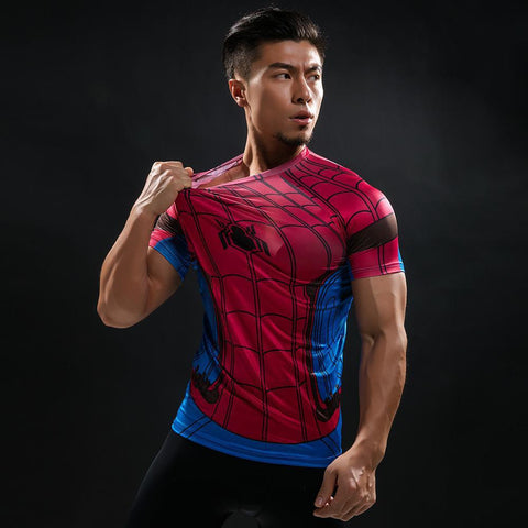 "Spiderman ""Classic"" Compression Short Sleeve Rashguard-RashGuardStore"