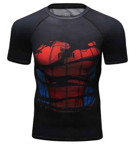 Spiderman Classic 'Hero Revealed' Compression Short Sleeve Rashguard-RashGuardStore