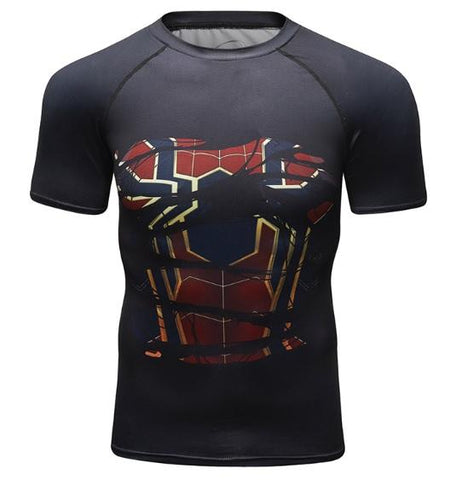 "Spiderman ""Hero Revealed"" Iron Spider Infinity War Compression Short Sleeve Rashguard-RashGuardStore"