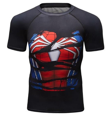 Spiderman 'Hero Revealed' PS4 Compression Short Sleeve Rashguard-RashGuardStore