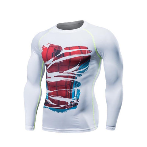 "Spiderman ""Hero Revealed"" White Long Sleeve Compression Rash Guard-RashGuardStore"