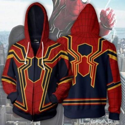 Spiderman 'Infinity War' Iron Spider Zip Up Hoodie-RashGuardStore