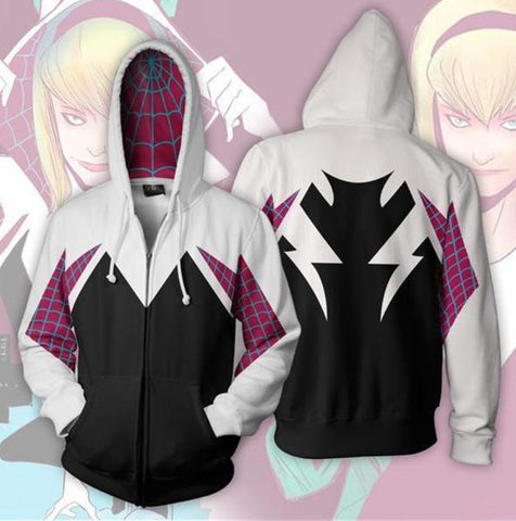 Spiderman 'Into The Spiderverse Gwen Stacy' Zip Up Hoodie-RashGuardStore