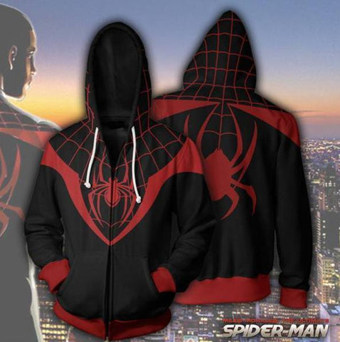 Spiderman 'Into The Spiderverse Miles Morales' Zip Up Hoodie-RashGuardStore