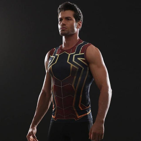 "Spiderman ""Iron Spider"" Infinity War Compression Tank Top-RashGuardStore"