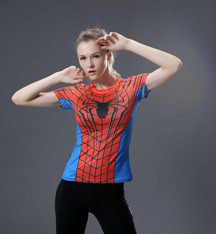 Spiderman Women's Animated Compression Short Sleeve Long Sleeve-RashGuardStore