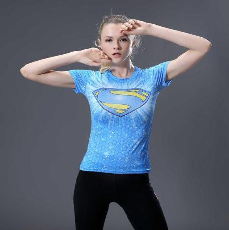 Supergirl 'Baby Blue' Compression Short Sleeve Rash Guard-RashGuardStore