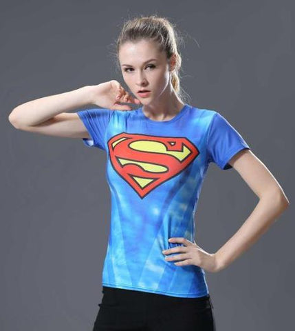Supergirl 'Classic Tie Dye' Compression Short Sleeve Rash Guard-RashGuardStore