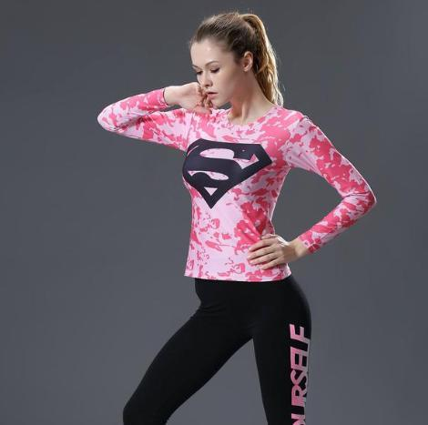 Supergirl 'Pink Camouflage' Compression Long Sleeve Rash Guard-RashGuardStore