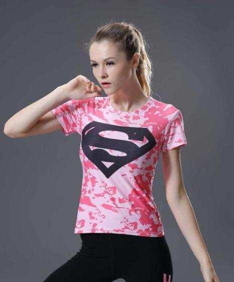 Supergirl 'Pink Camouflage' Compression Short Sleeve Rash Guard-RashGuardStore
