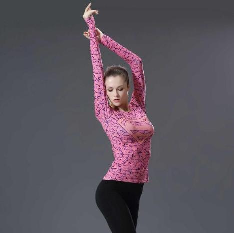 Supergirl 'Pink Onyx' Compression Long Sleeve Rash Guard-RashGuardStore