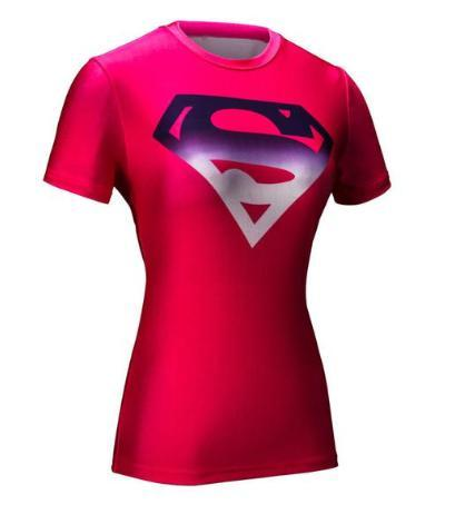 Supergirl 'Pink/Gradient' Compression Short Sleeve Rash Guard-RashGuardStore