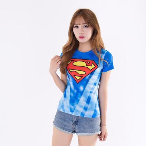 Supergirl 'Sky Blue Classic' Compression Short Sleeve Rash Guard-RashGuardStore