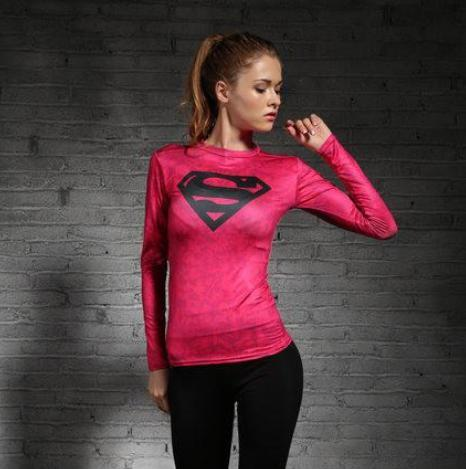 Supergirl 'Solid Pink' Compression Long Sleeve Rash Guard-RashGuardStore