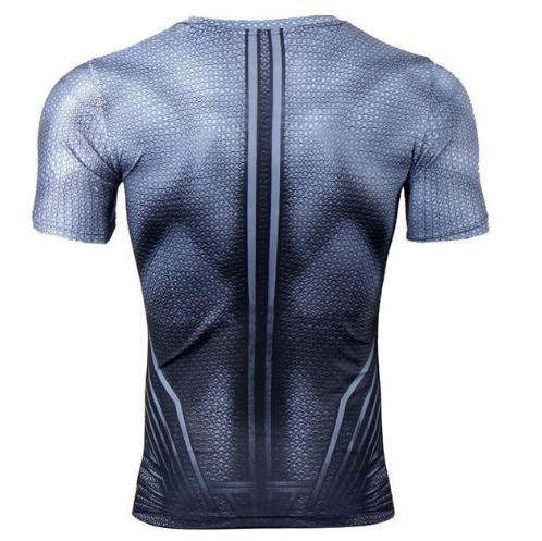 "Superman ""Blue"" Compression Short Sleeve Rashguard-RashGuardStore"