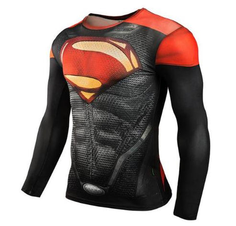 "Superman ""Dark"" Compression Long Sleeve Rashguard-RashGuardStore"