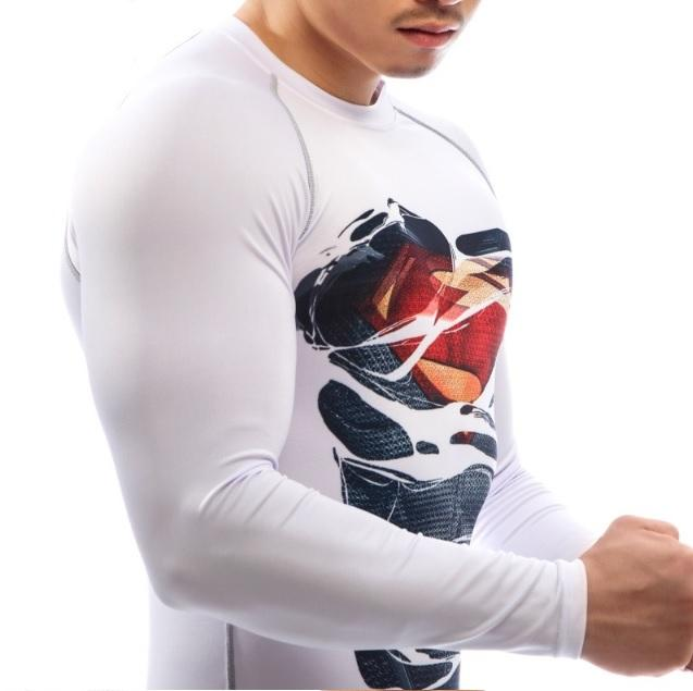 "Superman ""Dark Hero Revealed"" Compression Long Sleeve Rashguard-RashGuardStore"