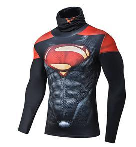 "Superman ""Dark"" Long Sleeve Compression High Collar Rashguard-RashGuardStore"