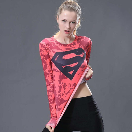 Superman Dark Pink Onyx Women's Short Sleeve Rashguard-RashGuardStore