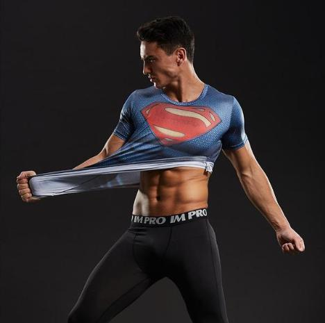 "Superman ""Distant Fires"" Short Sleeve Compression Rashguard-RashGuardStore"