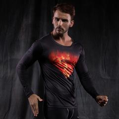 "Superman ""Fire"" Compression Long Sleeve Rashguard-RashGuardStore"