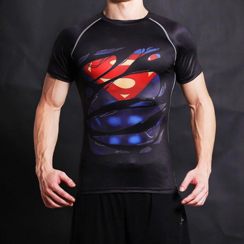 "Superman ""Hero Revealed"" Black Short Sleeve Compression Rash Guard-RashGuardStore"
