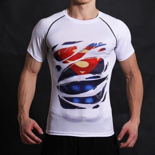 "Superman ""Hero Revealed"" White Short Sleeve Compression Rash Guard-RashGuardStore"