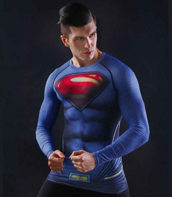 "Superman ""Man Of Steel"" Compression Long Sleeve Rashguard-RashGuardStore"