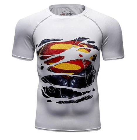 "Superman Metropolis White ""Hero Revealed' Compression Short Sleeve Rashguard-RashGuardStore"
