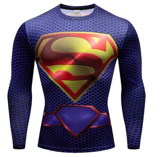 "Superman ""New 52"" Premium Dri-Fit Long Sleeve Rashguard-RashGuardStore"