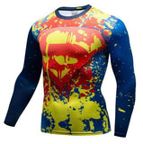 "Superman ""Paintball"" Premium Dri-Fit Long Sleeve Rashguard-RashGuardStore"