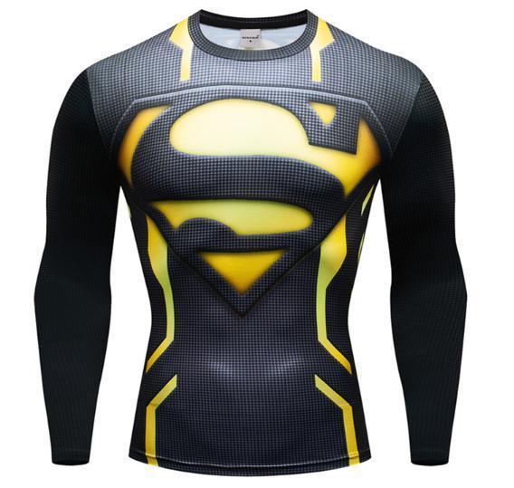 "Superman ""Powersuit Black/Yellow"" Premium Dri-Fit Long Sleeve Rashguard-RashGuardStore"