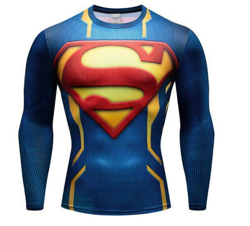 "Superman ""Powersuit Classic"" Premium Dri-Fit Long Sleeve Rashguard-RashGuardStore"