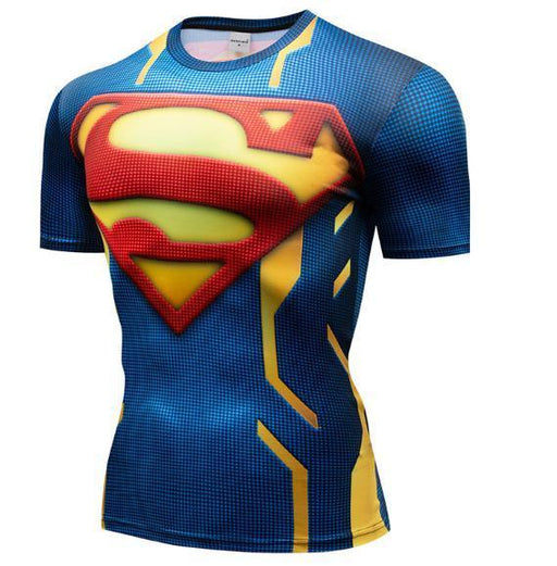 "Superman ""Powersuit Classic"" Premium Dri-Fit Short Sleeve Rashguard-RashGuardStore"
