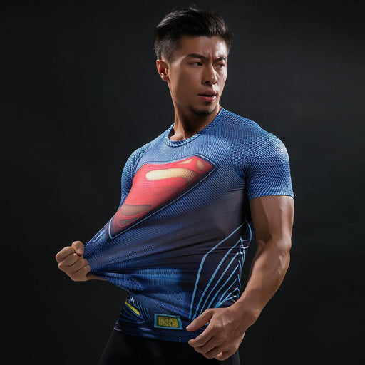 Superman Short Sleeve Compression Rashguard-RashGuardStore