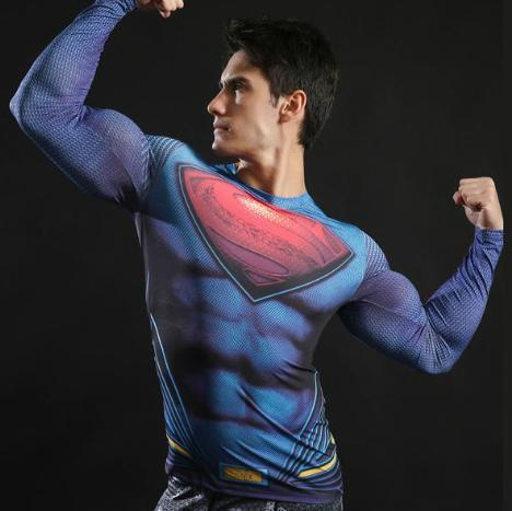 "Superman ""Up Up And Away"" Compression Long Sleeve Rashguard-RashGuardStore"