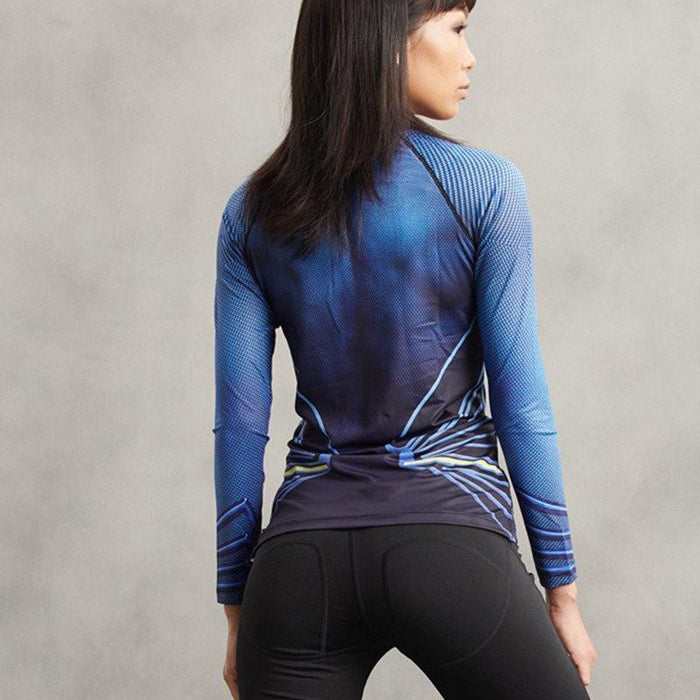 Superman Women's Compression Long Sleeve Rashguard-RashGuardStore
