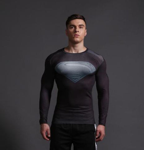 "Superman ""World Of New Krypton"" Long Sleeve Compression Rashguard-RashGuardStore"