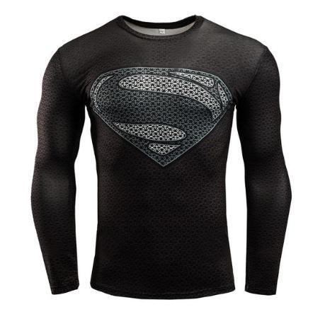 "Superman ""World Of New Superman"" Long Sleeve Compression Rashguard-RashGuardStore"