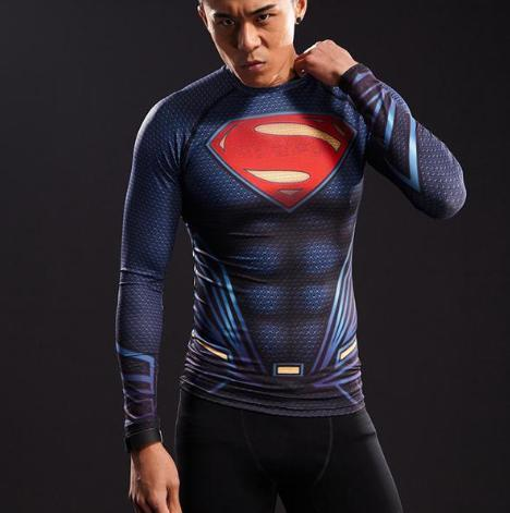 "Superman ""Young Justice"" Long Sleeve Compression Rashguard-RashGuardStore"