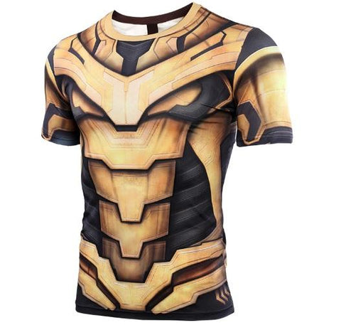 Thanos 'End Game Armor' Premium Compression Short Sleeve Rash Guard-RashGuardStore