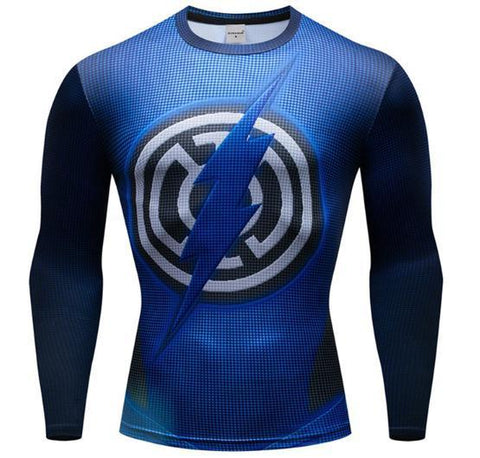 The Flash 'Blue Lantern' Premium Dri-Fit Long Sleeve Rashguard-RashGuardStore