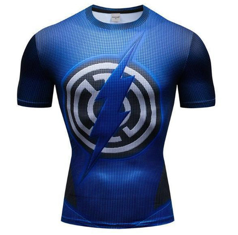 The Flash 'Blue Lantern' Premium Dri-Fit Short Sleeve Rashguard-RashGuardStore