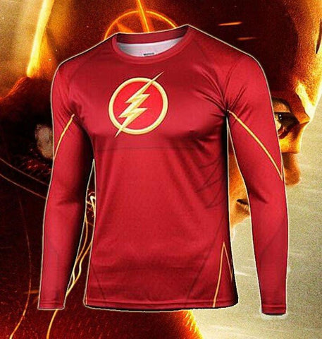 "The Flash ""Classic"" Long Sleeve Compression Rash Guard-RashGuardStore"