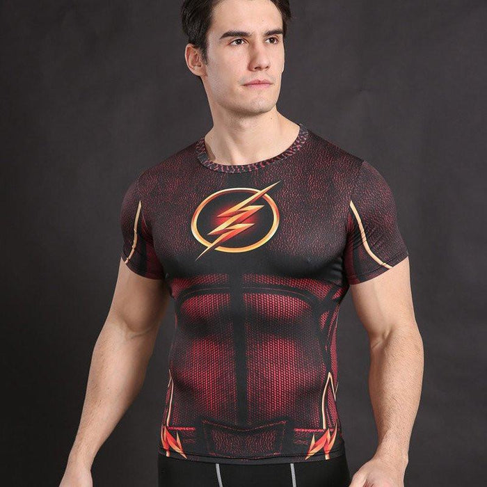 "The Flash ""Golden"" Compression Short Sleeve Rashguard-RashGuardStore"