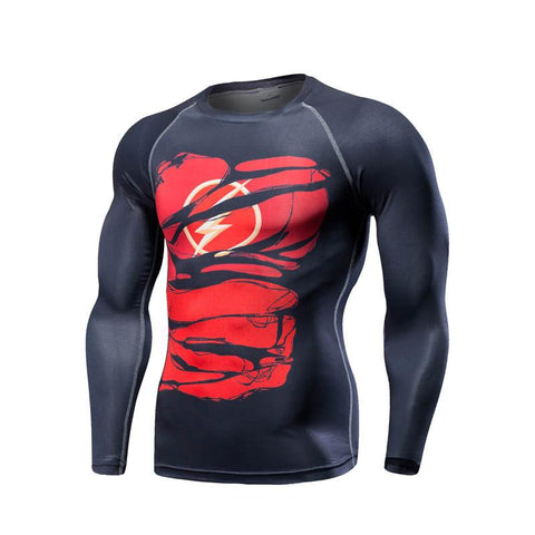 "The Flash ""Hero Revealed"" Long Sleeve Compression Rash Guard-RashGuardStore"