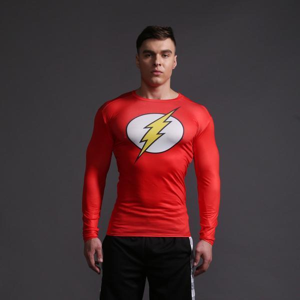 "The Flash ""Old School"" Long Sleeve Compression Rashguard-RashGuardStore"